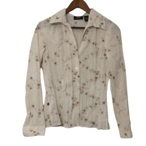 Allison Morgan Top White Brown Embroidered Florals